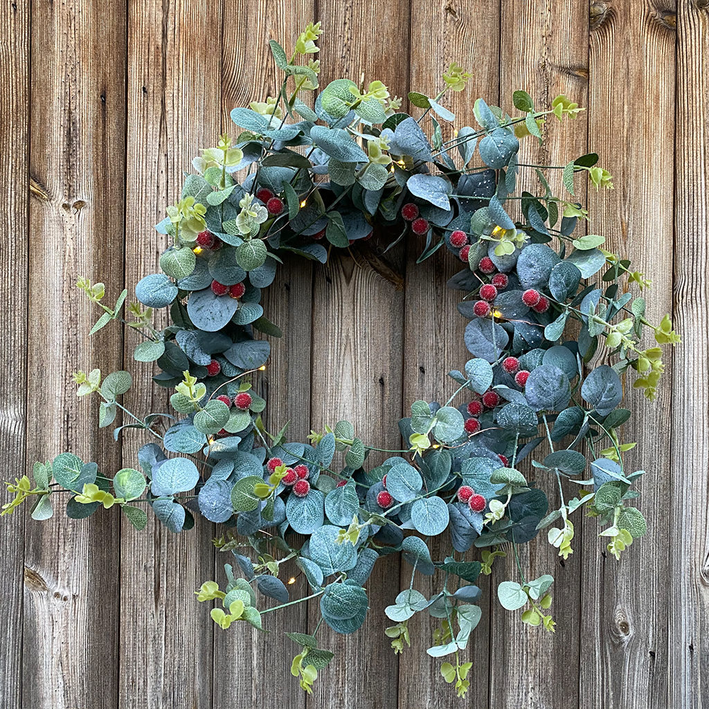Eucalyptus Frosted Red Berry Wreath