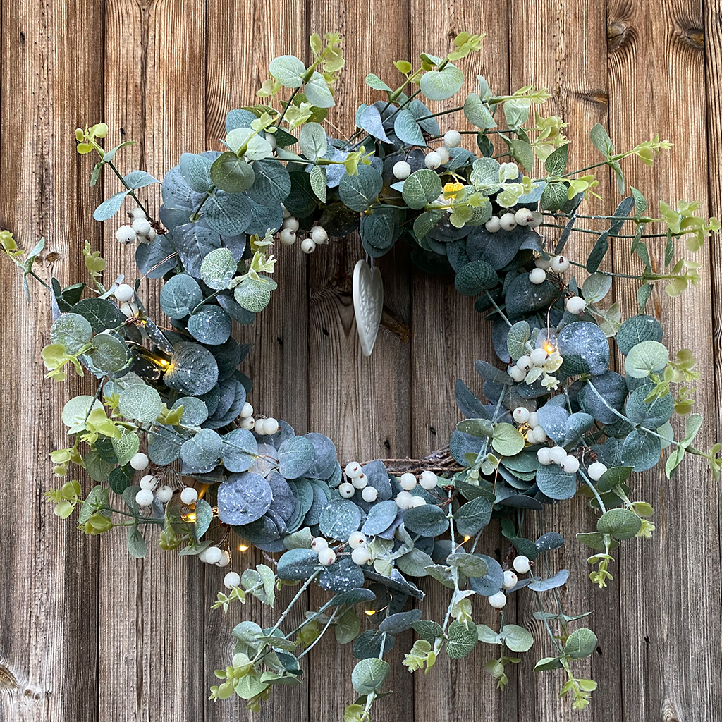 Eucalyptus Frosted White Berry Wreath