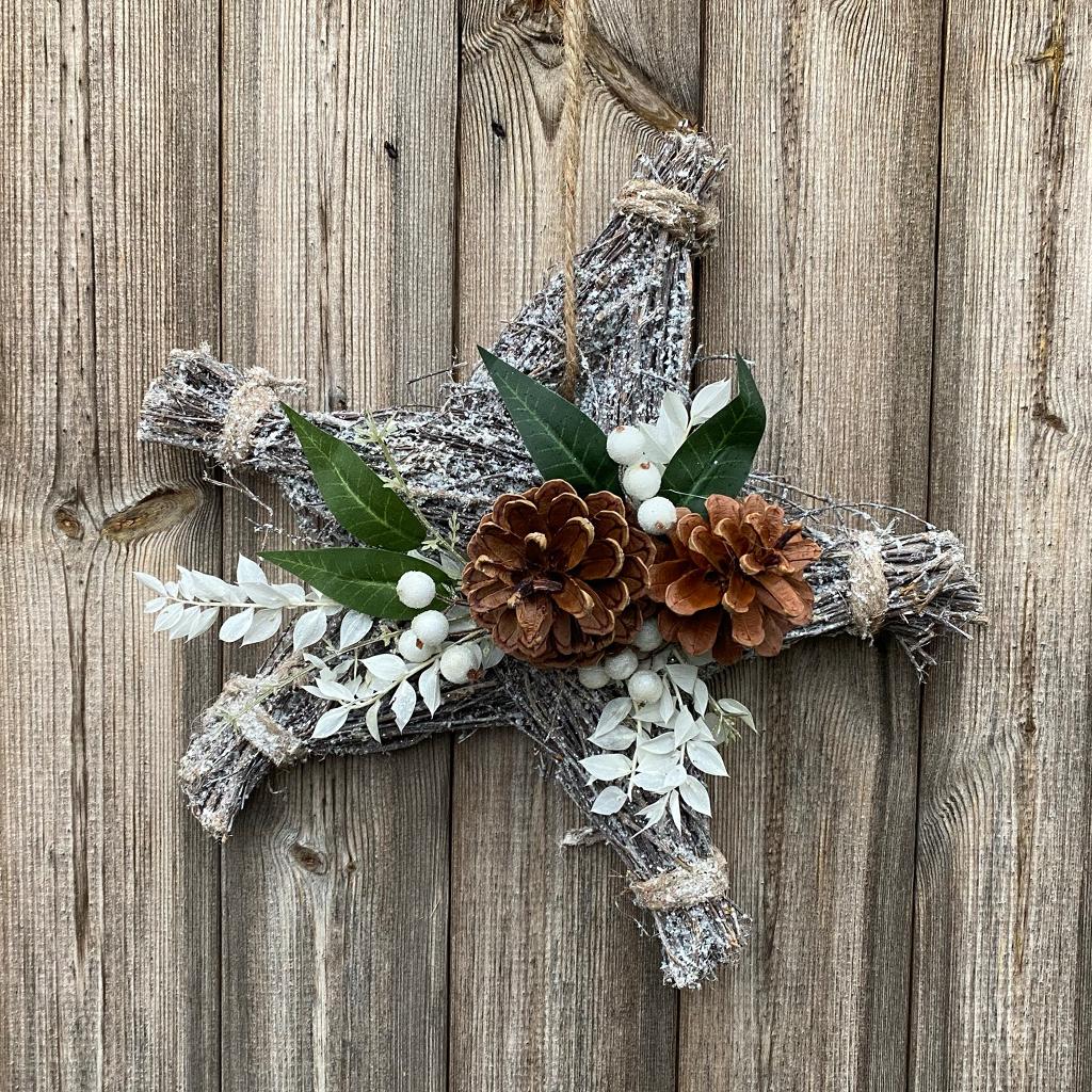 White Glitter Hanging Star - Cones & White Berries