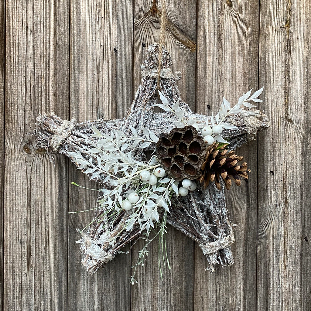 White Glitter Hanging Star - Lotus, Cone & White Berries